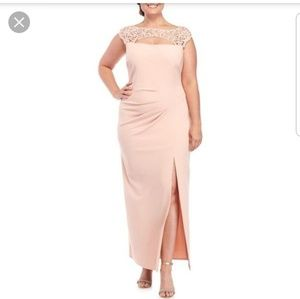 Marina Blush Metallic Lace Gown - NWT